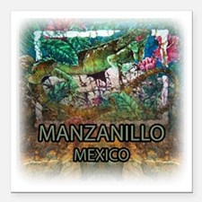 "Iguana Manzanillo Mexico Square Car Magnet 3"" x 3"""