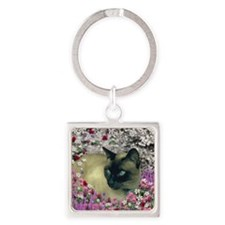 Stella in Flowers I Square Keychain