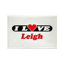I Love Leigh Rectangle Magnet