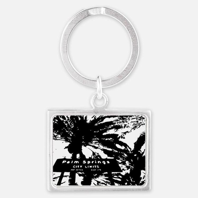 BlacknWhite Palm Springs sign Landscape Keychain
