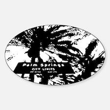 BlacknWhite Palm Springs sign Sticker (Oval)