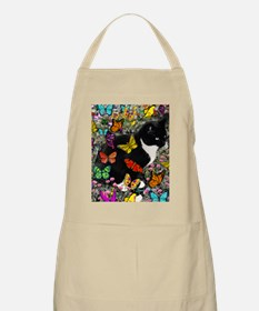 Freckles the Tux Cat in Butterflies I Apron