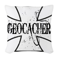 Geocacher Iron Cross Woven Throw Pillow