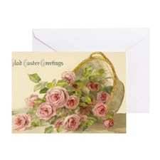 Spilled Basket of Red Pink Roses Eas Greeting Card