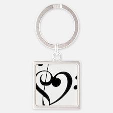 Treble Heart Square Keychain