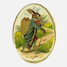 Standing Easter Bunny Rabbit Dressed Oval Ornament