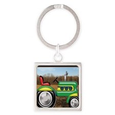 Teriffic Tractor in the Field Square Keychain