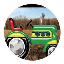 Teriffic Tractor in the Field Round Car Magnet