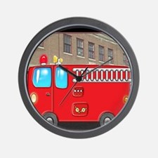 Fire Engine at the Station Wall Clock