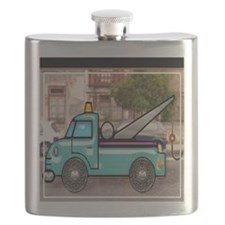 Tough Tow Truck in the Street Flask