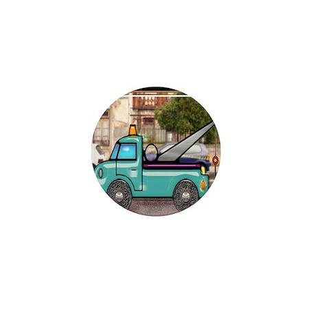 Tough Tow Truck in the Street Mini Button