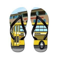 School Bus in Front of Building Flip Flops