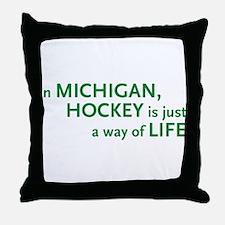 Michigan Hockey State Throw Pillow