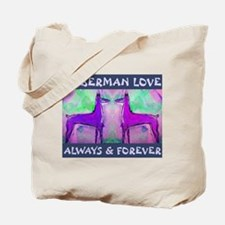 Doberman Love Blue Tote Bag