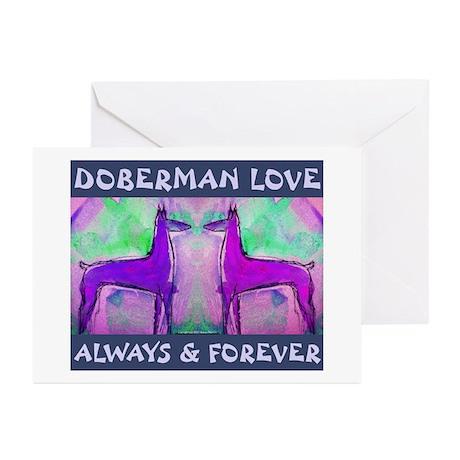 Doberman Love Blue Greeting Cards (Pk of 10)