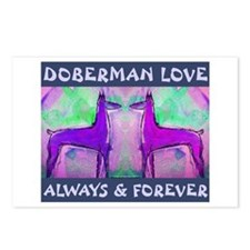Doberman Love Blue Postcards (Package of 8)
