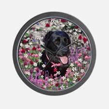 Abby the Black Labrador in Flowers Wall Clock
