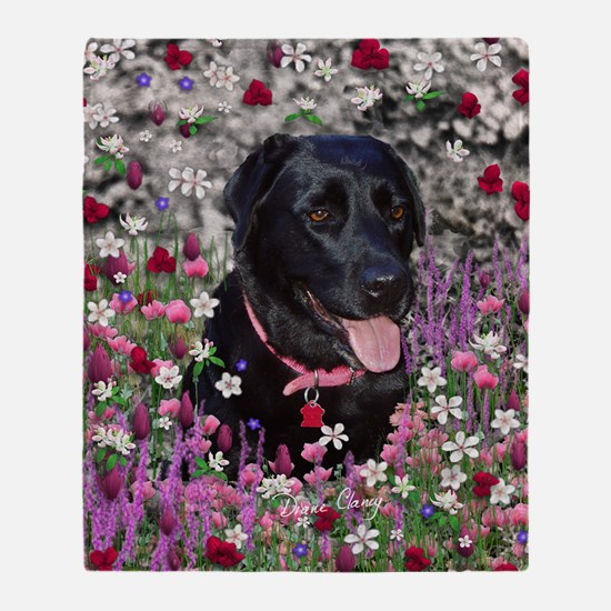 Abby the Black Labrador in Flowers Throw Blanket