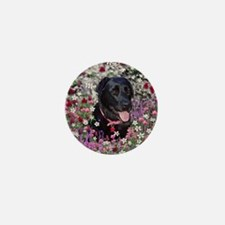 Abby the Black Labrador in Flowers Mini Button