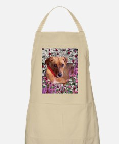 Trista the Rescue Dog in Flowers Apron