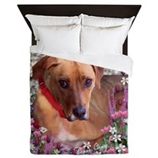 Trista the Rescue Dog in Flowers Queen Duvet