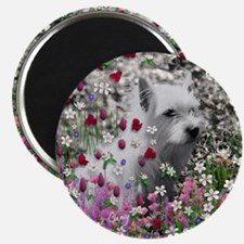 Violet the White Westie in Flowers I Magnet