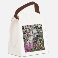 Violet the White Westie in Flower Canvas Lunch Bag