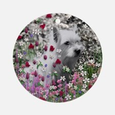Violet the White Westie in Flowers  Round Ornament