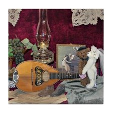 Valentine Teddy Bears and Mandolin Tile Coaster