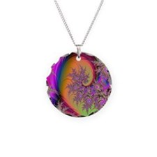 Colorful swirl mousepad Necklace Circle Charm