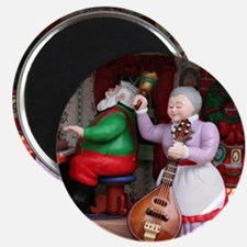 Santa on Piana and Mrs. Claus with Mandolin Magnet