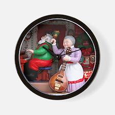 Santa on Piana and Mrs. Claus with Mand Wall Clock