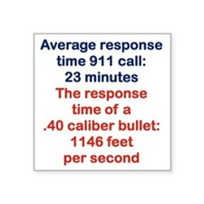 "AVERAGE RESPONSE TIME 911 C Square Sticker 3"" x 3"""