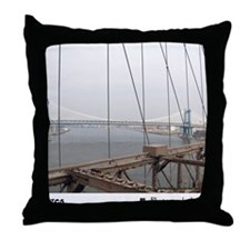 Manhattan Bridge from the Brooklyn Br Throw Pillow