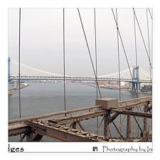 "Manhattan Bridge from th Square Car Magnet 3"" x 3"""