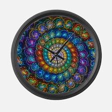 Fractal Spiral Beads Shirt Large Wall Clock