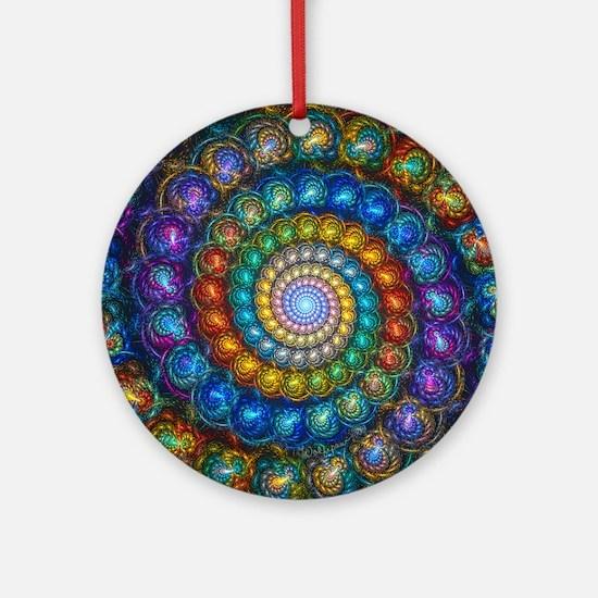 Fractal Spiral Beads Shirt Round Ornament
