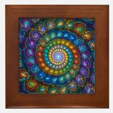 Fractal Spiral Beads Shirt Framed Tile