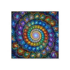 """Fractal Spiral Beads Shirt Square Sticker 3"""" x 3"""""""