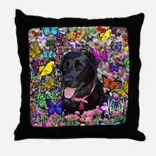 Abby the Black Lab in Butterflies Throw Pillow