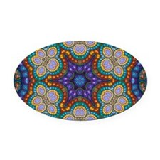 Fractal Spiral Beads Kaleidoscope  Oval Car Magnet
