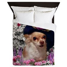 Chi Chi the Chihuahua in Flowers Queen Duvet