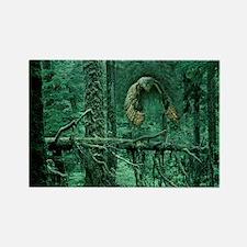 Green Woods Owl Rectangle Magnet