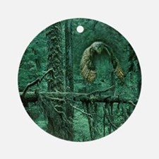 Green Woods Owl Round Ornament
