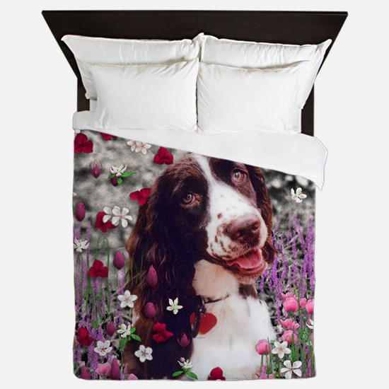 Lady the Brittany Spaniel in Flowers Queen Duvet
