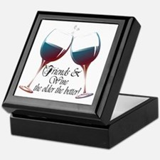 Friends and Wine the older the better Keepsake Box