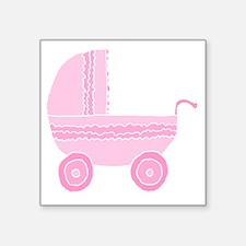 "Pink Stroller. Square Sticker 3"" x 3"""