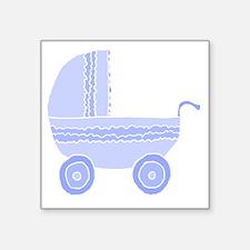 "Blue Stroller. Square Sticker 3"" x 3"""