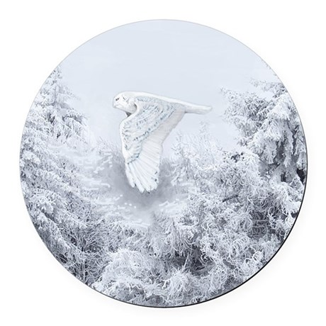 Snowy Owl in Blizzard Round Car Magnet