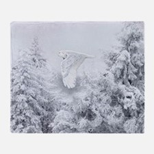 Snowy Owl in Blizzard Throw Blanket